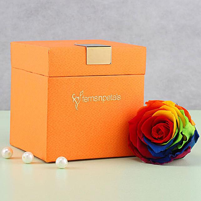 Mystic Forever Rainbow Rose in Orange Box: