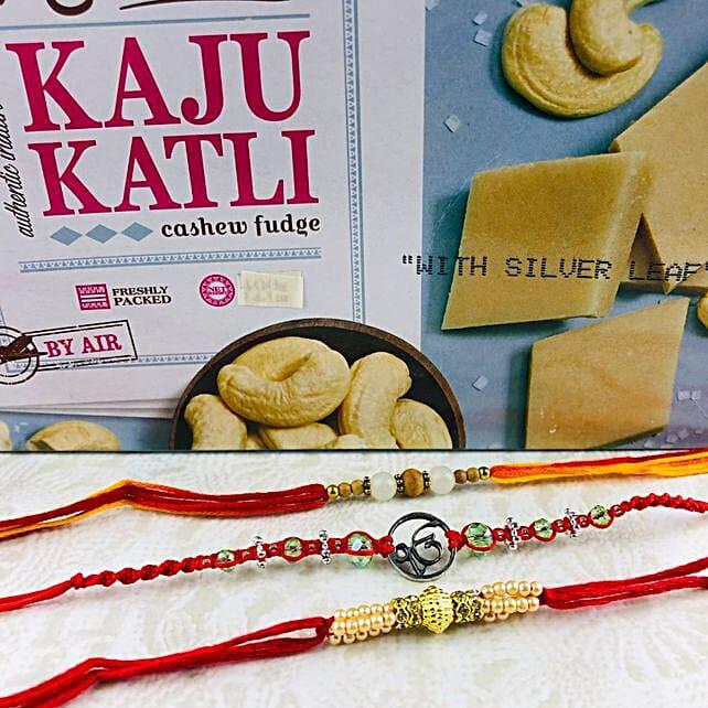Ik Onkar Rakhi Set With Kaju Katli: Rakhi Delivery in Australia