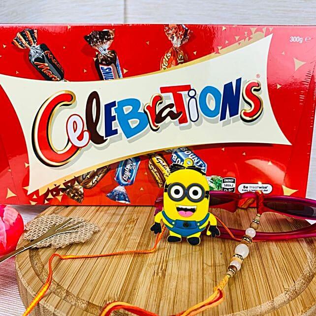 Kids Minions Rakhi Set With Celebration Chocolate: Send Cartoon Rakhi to Australia