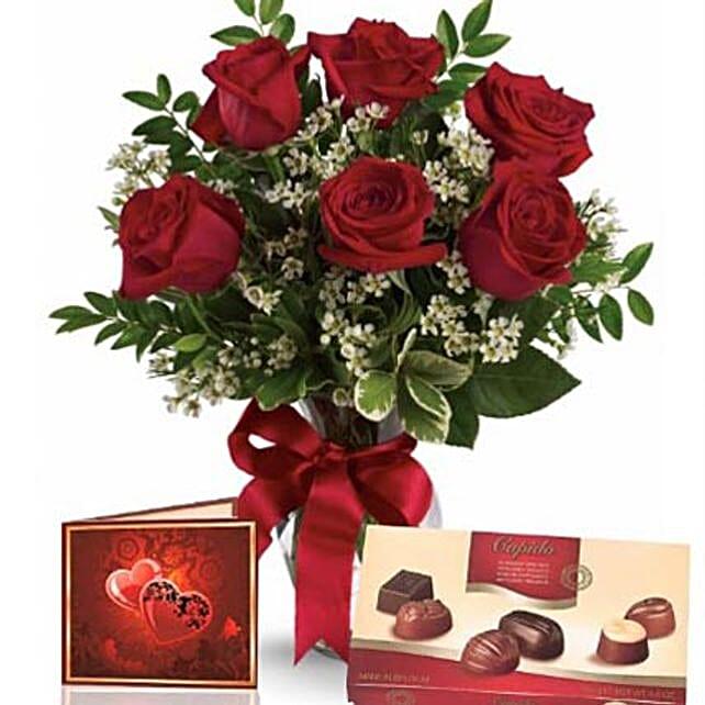 Half Dozen Roses With Chocolates: Just Because Flower in Australia