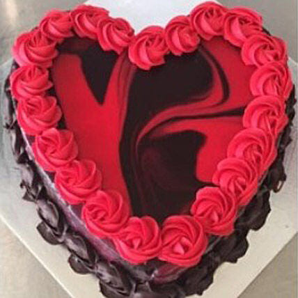 Heart Shaped Red Marble Cake: Midnight Gifts Delivery in Australia