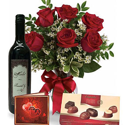 Roses Wine N Chocolate Combo: Send Valentines Day Gifts to Australia