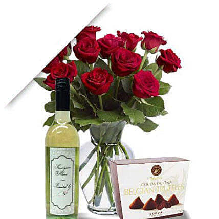 Roses With Wine N Truffle: Send Thanks Giving Gifts to Australia