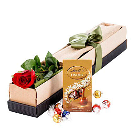 Single Stem Red Rose With Chocolate: Send Valentines Day Gifts to Australia