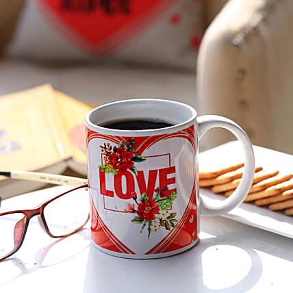Red And White Love Mug: Personalised Mugs to Australia
