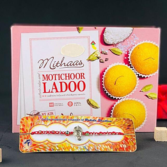 Ganpati Rakhi With Indian Sweet Motichoor Ladoo: Rakhi Combos to Australia