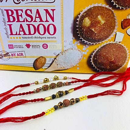 Super Four Rakhi Set With Besan Laddu: Rakhi to Melbourne