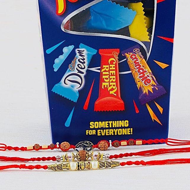 Three Rakhi Set with Cadbury Favourite: Rakhi with Chocolates to Australia