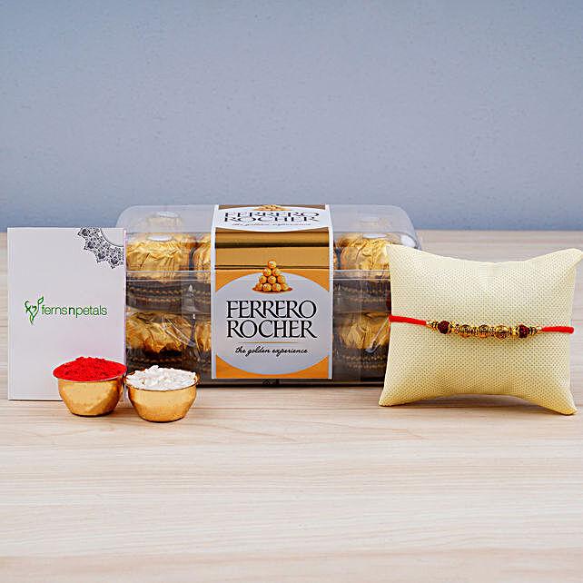 Rudraksha Rakhi N Ferrero Rocher: Send Rakhi to Australia