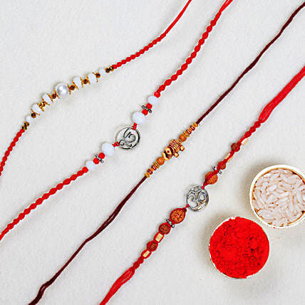 Set Of 4 Elegant Rakhis: Send Rakhi to Australia