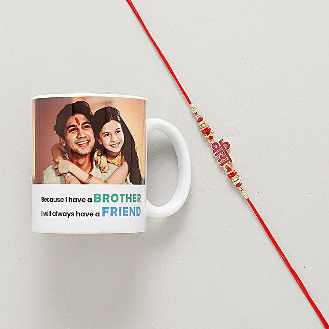 Veera Di Rakhi With Customized Mug: Send Rakhi with Personalised Gifts to Australia
