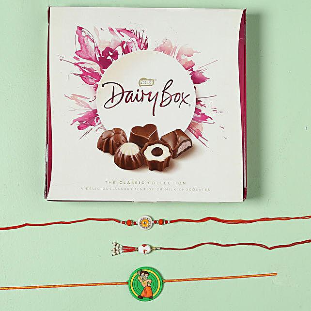 Family Rakhi Set with Milk Chocolate Box: Rakhi with Chocolates to Austria