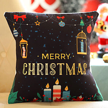Xmas Candles Cushion: Send Christmas Gifts to Bahrain