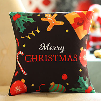 Xmas Themed Wishes Cushion: Send Christmas Gifts to Bahrain