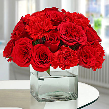 Roses N Carnations Arrangement: Send Anniversary Flowers to Bahrain