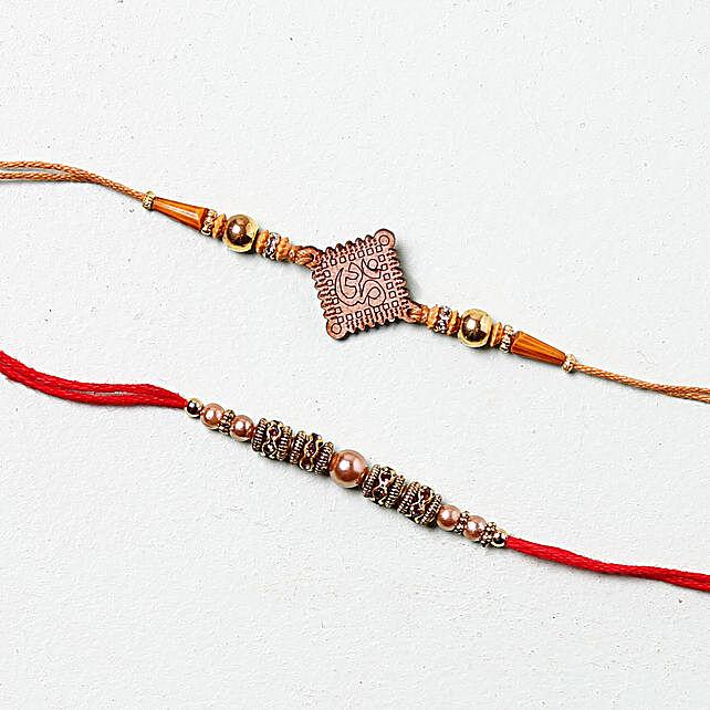 Aum Diamond Rakhi Set: Set Of 2 Rakhi To Belgium