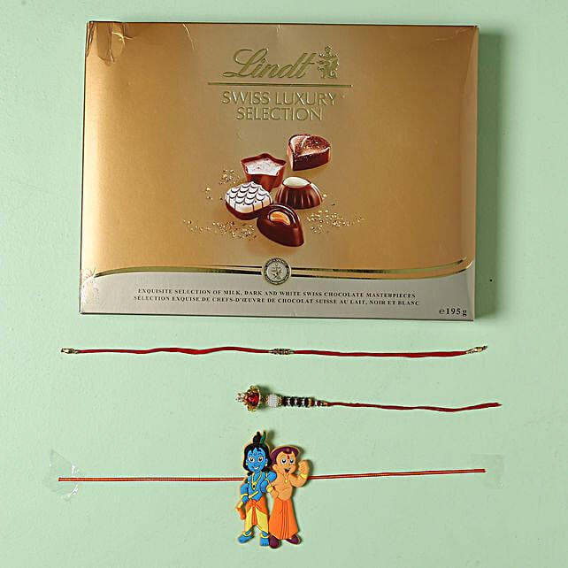 Family Rakhi set with Lindt Finest Swiss Chocolates: Rakhi for Brother in Belgium