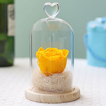 Forever Sunny Yellow Rose in Glass Dome: Send Forever Roses to Belgium
