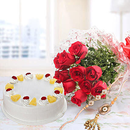 10 Red Roses And Pineapple Cake Combo With Rakhi: Send Rakhi Combos to Canada