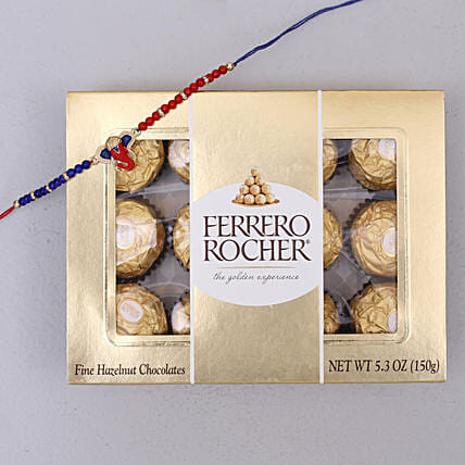 Red and Blue Designer Rakhi and Rocher Combo: Single Rakhi Delivery in Canada