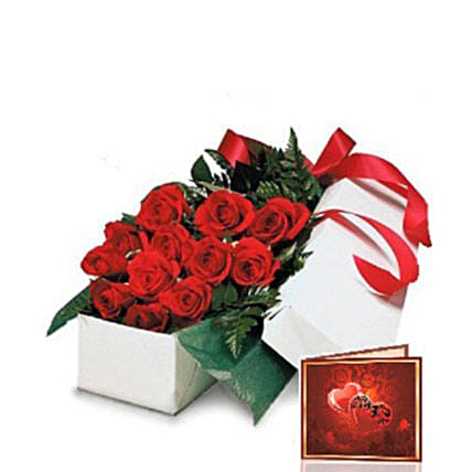 Red Roses Gift Box: Send Congratulations Flowers to Canada