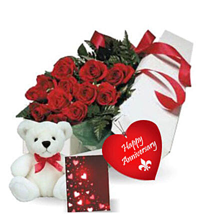 Rose Gift Box N Teddy: Flower Delivery in Mississauga