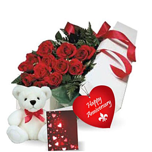 Rose Gift Box N Teddy: Flower Delivery in Edmonton