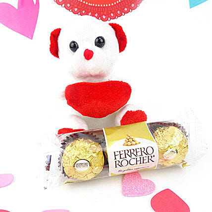 White Teddy N Chocolate Combo: Send Valentines Day Chocolates to Canada