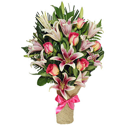 Serenity Bouquet Of 6 Pink Roses And 4 Lilies: Send Gift to Canada Same Day Delivery