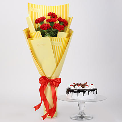 6 Red Carnations And Black Forest Cake: Flowers and Cakes in Canada