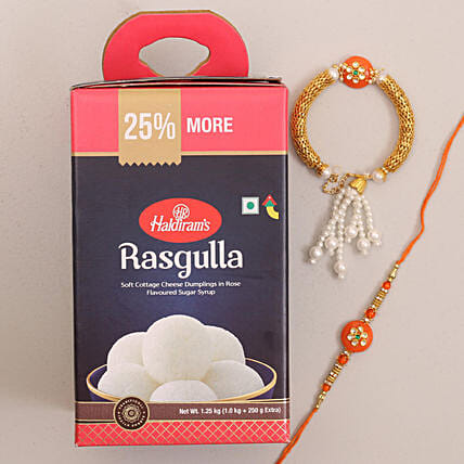 Designer Bhaiya Bhabhi Rakhi and Rasgulla Combo: Rakhi and Sweets to Canada