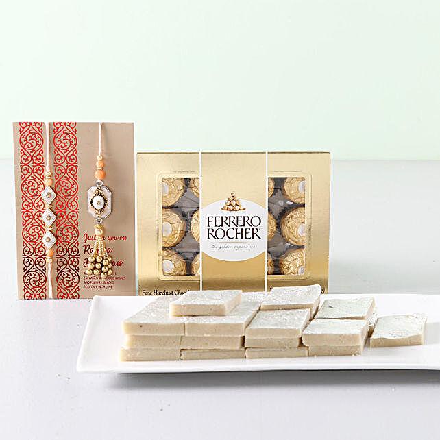 Bhaiya Bhabi Rakhi With Sweet Treat: Rakhi and Chocolates to Canada