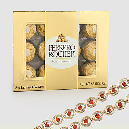 Rocher Choco Box With Rudraksha Rakhis: Set of 2 Rakhi Delivery in Canada