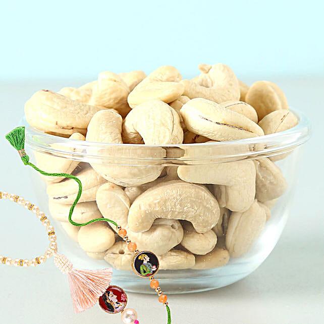 Cashews 100 Gms And Bahiya Bhabhi Rakhi Combo: Rakhi and Dryfruits to Canada