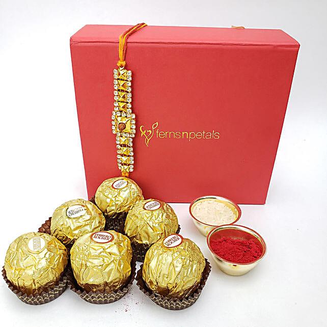 Rakhi And Rocher Happiness Combo: Rakhi with Chocolates to Canada