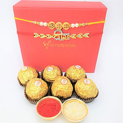 Traditional Rakhis And Rocher 6 Pieces Combo: Rakhi to Edmonton
