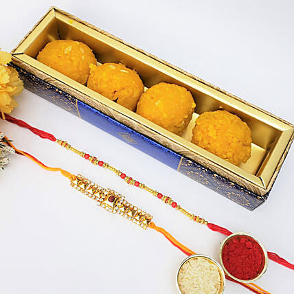 2 Rakhis And Boondi Laddu 225gms Combo: Rakhi to Montreal