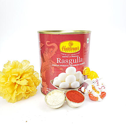 Rasgulla And Ganesha Idol Diwali Gift Set: Send Sweets to Canada