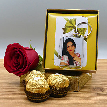 Photo Keychain With Rose And Chocolates: Personalised Gifts Canada