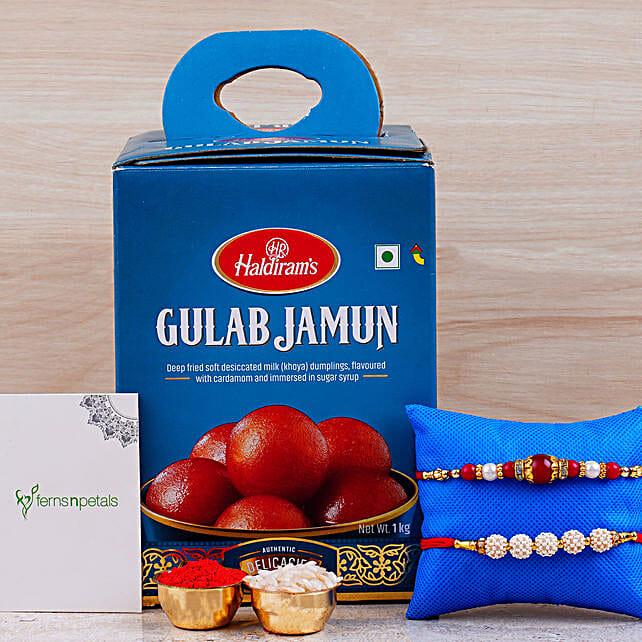 Set Of 2 Designer Rakhis And Gulab Jamun Tin: Rakhi Delivery in Canada