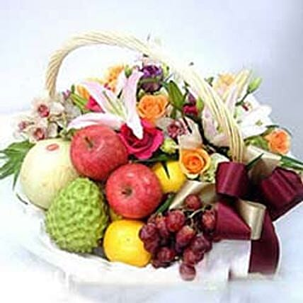 Flower fruit basket CIN: Send Romantic Gifts to China