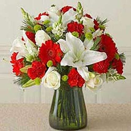 Red n white Vass arrangement CIN: Thanks Gift Delivery in China