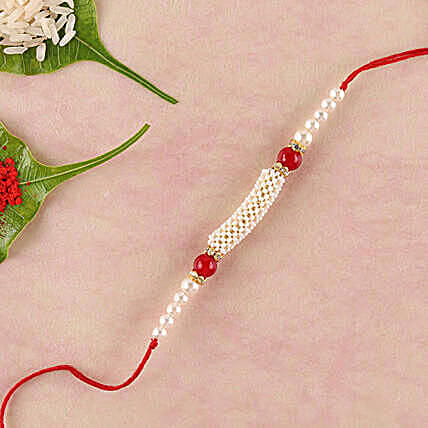 Gorgeous White And Red Beads Rakhi: Gifts Offers - China