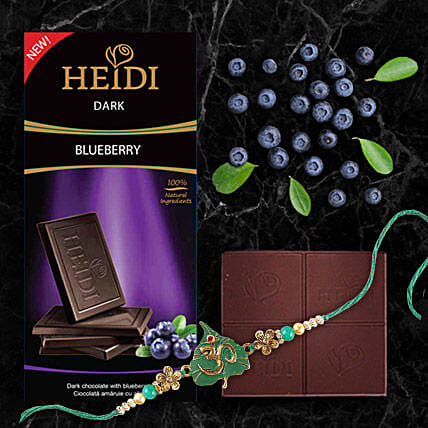 Heidi Blueberry Dark Chocolate And Rakhi Combo: Rakhi With Chocolates To China