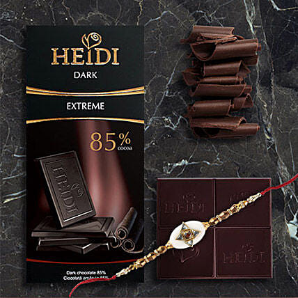 Heidi Extreme Dark Chocolate Rakhi Combo: Rakhi With Chocolates To China