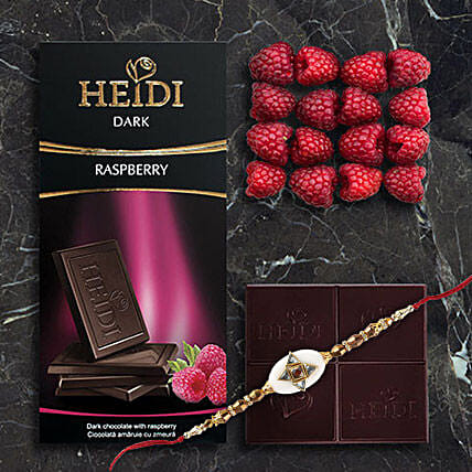 Heidi Raspberry Dark Chocolate Rakhi Combo: Rakhi With Chocolates To China