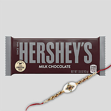 Hersheys Milk Chocolate And Rakhi Combo: Rakhi With Chocolates to China