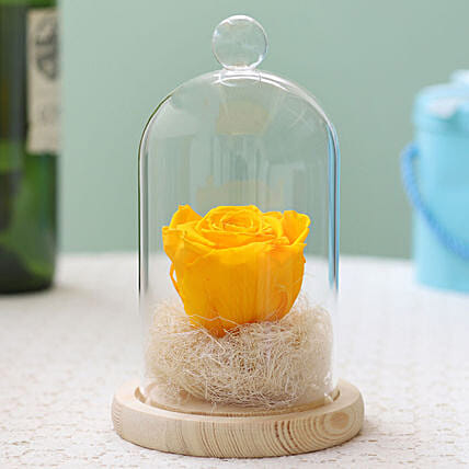 Sunny Yellow Forever Rose in Glass Dome: