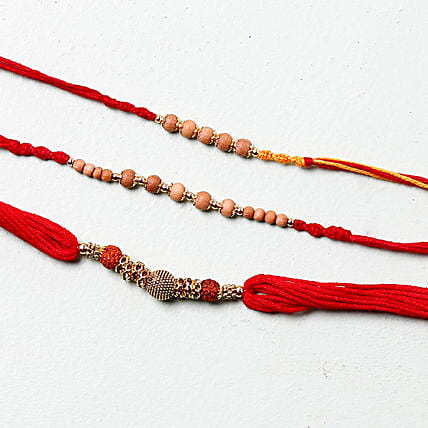 Sandalwood Rakhi Set: Set of 3 Rakhi to France