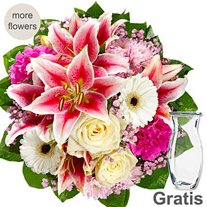 Pink And White Mix Flower Bouquet: Send Roses to Germany